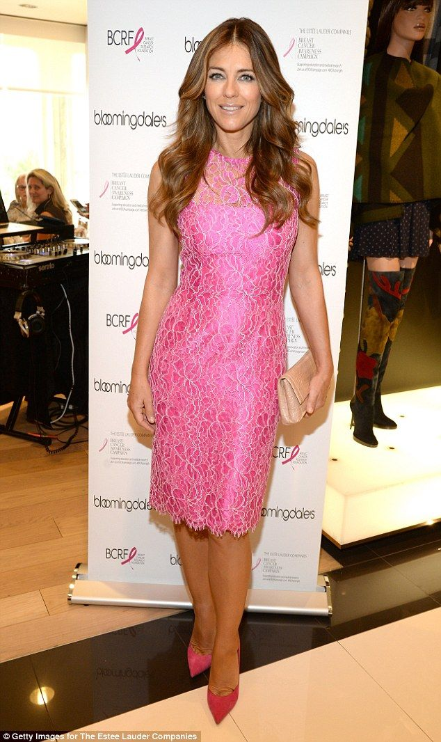 Liz Hurley, 50, shows off amazing figure in two tight pink dresses