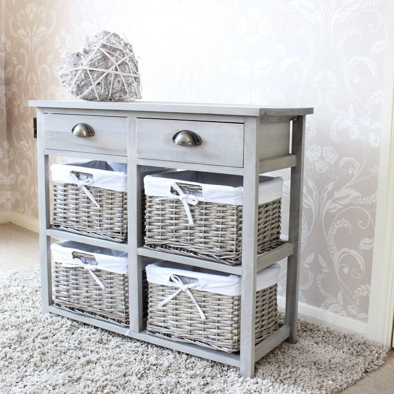 Vintage Grey Range Two Drawer And Wicker Basket Storage Unit New Items Melody Maison