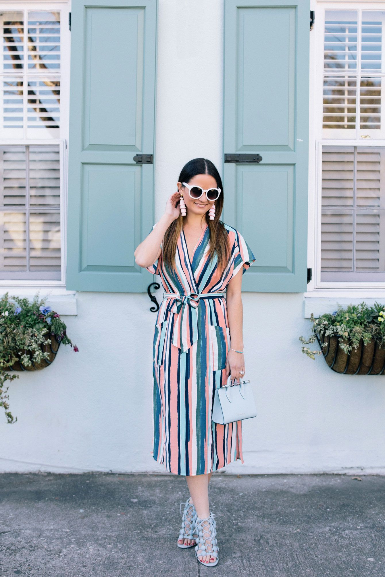 Multicolor Striped Wrap Dress In Charleston Style Charade Wrap Dress Dresses Style [ 2010 x 1340 Pixel ]