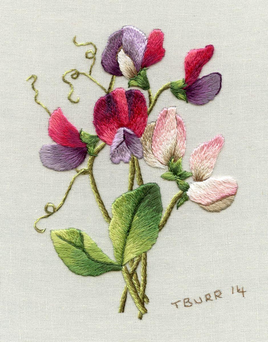 Needle work spring flowers trish burr embroidery pinterest