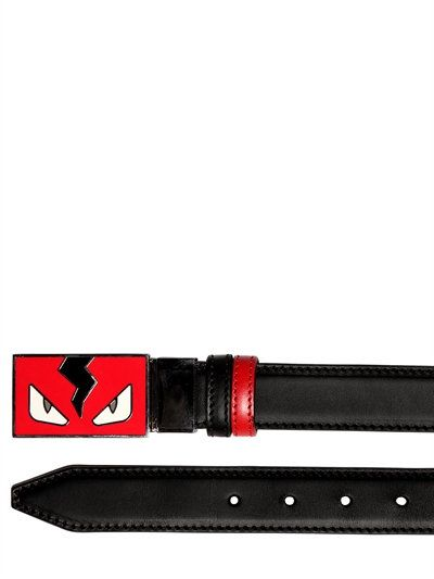 1657c9fb2 FENDI - MONSTER REVERSIBLE LEATHER BELT - BELTS - BLACK/RED - LUISAVIAROMA