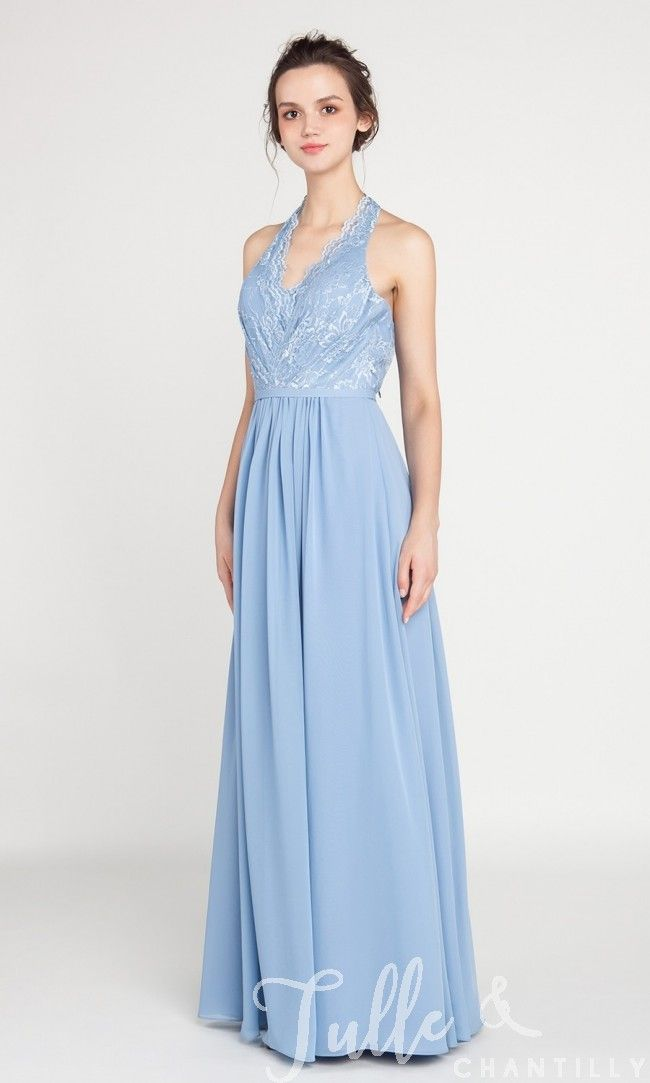 43b27d164988 Halter Neck Lace and Chiffon Long Bridesmaid Dress TBQP386 in 2018 ...