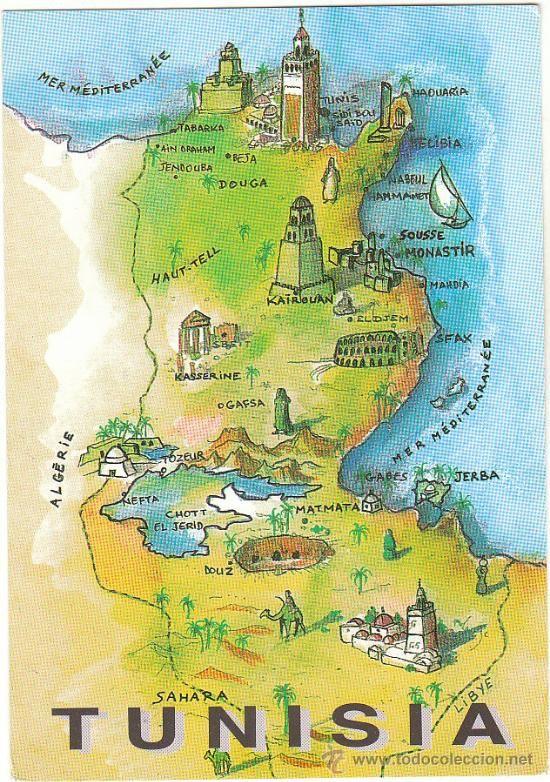 Postcard map of Tunisia | Maps,illustrations | Pinterest | Africa