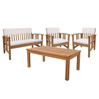 4 Piece Westerly Acacia Wood Deep Seating Chat Set Deep Seating Patio Furniture Patio Furniture Sets Deep Seating