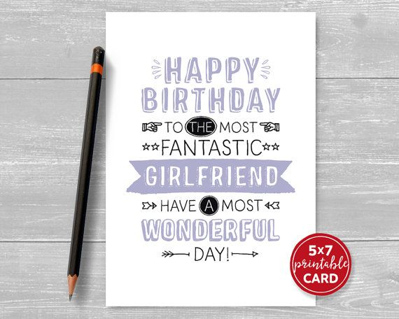 Printable Birthday Card For Girlfriend By Thelittleredcherry