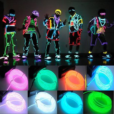 LED String Strip Rope Light Neon Glow EL Wire Clothes Dance Party Controller