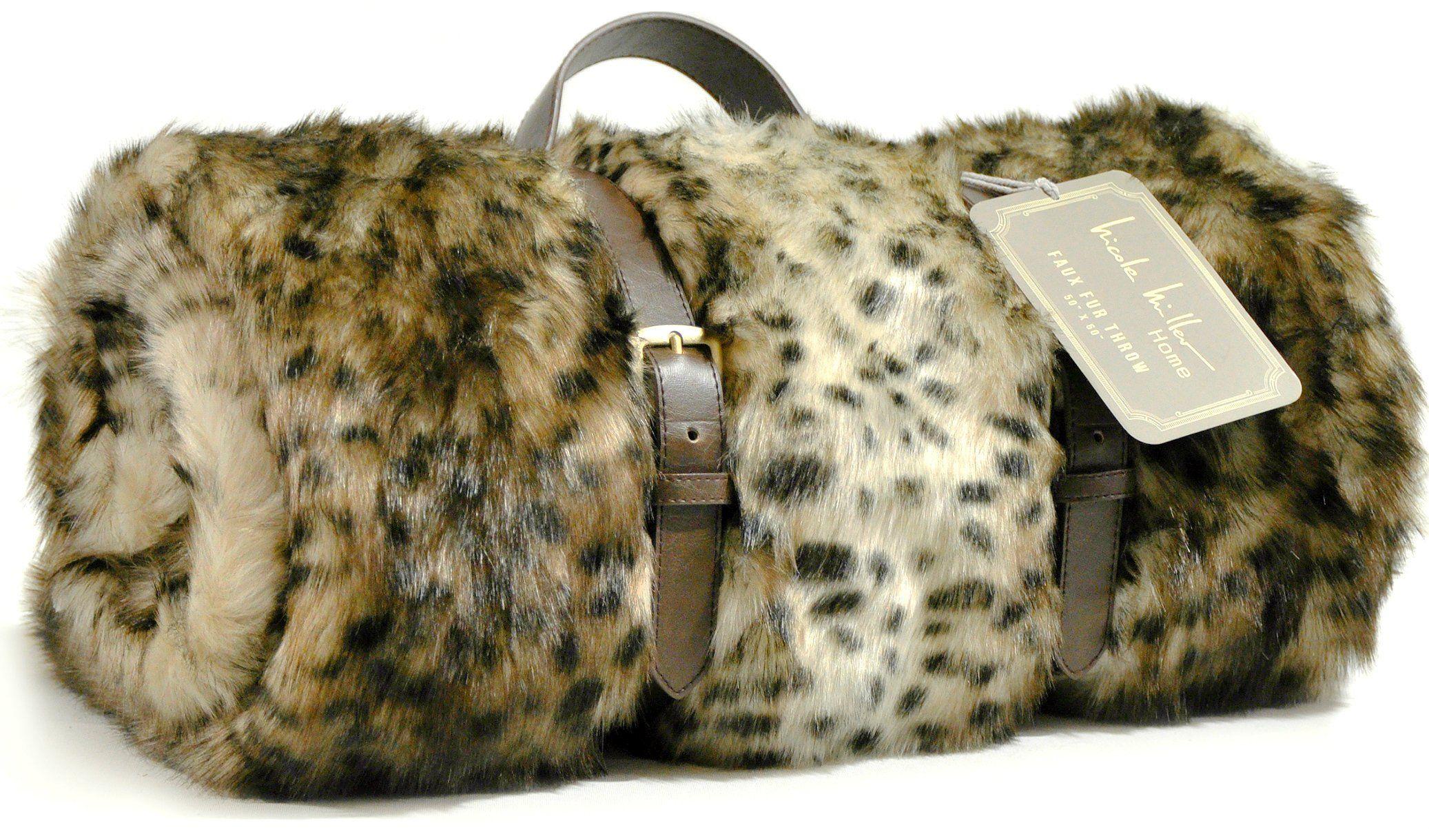 Faux Fur Throw By Nicole Miller Cheetah Leopard Plush