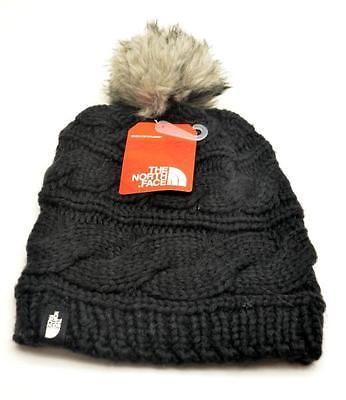 6e4a495b8 THE NORTH FACE Black Triple Cable Beanie Faux Fur Pom Pom Hat Women ...