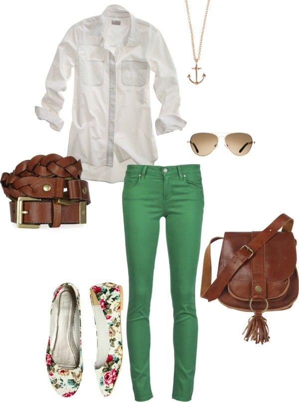 90ec9ead92e8 Green pants-White Shirt-Girly Shoes