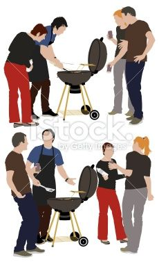 Cook and his friends together at a barbecue party Royalty Free Stock Vector Art Illustration