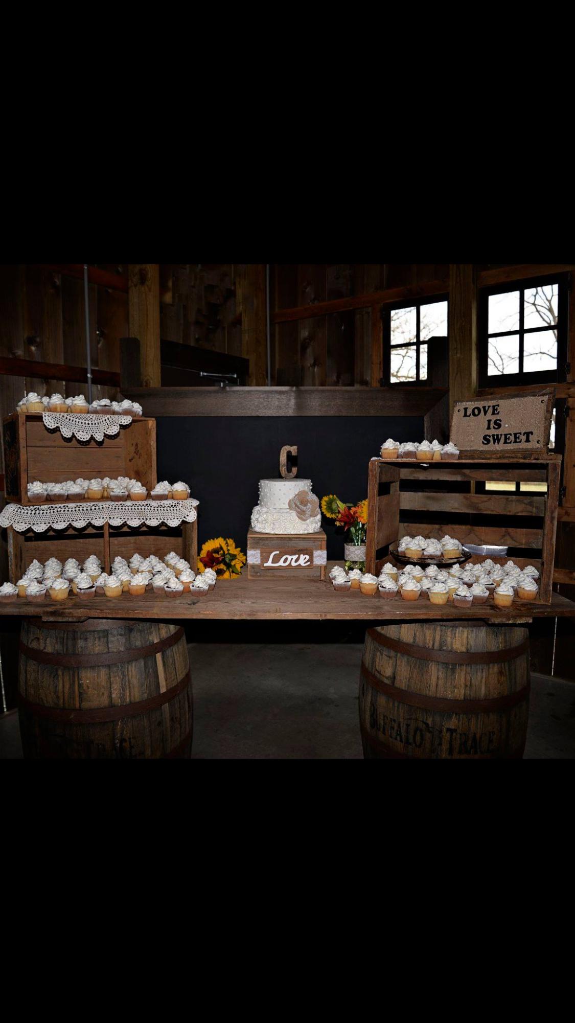 Country Rustic Wedding Cake Display Crates And Barn Wood Door