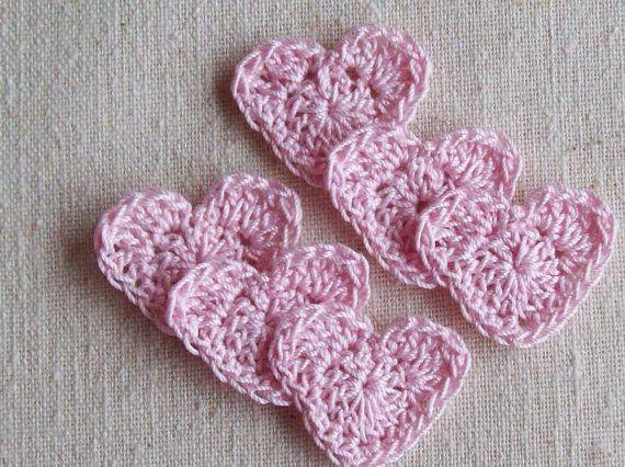 Crochet apliques de corazónrosa orquídeatienda de por LittleMargie, $3.75