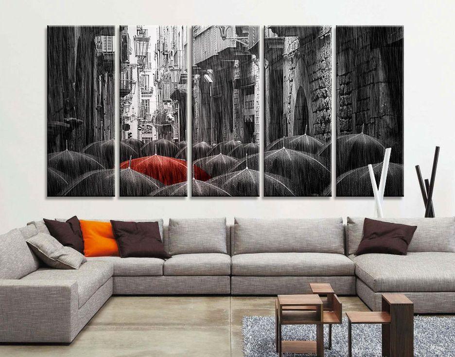 Oversize Art Canvas Prints - Red Umbrella Between Black Umbrella