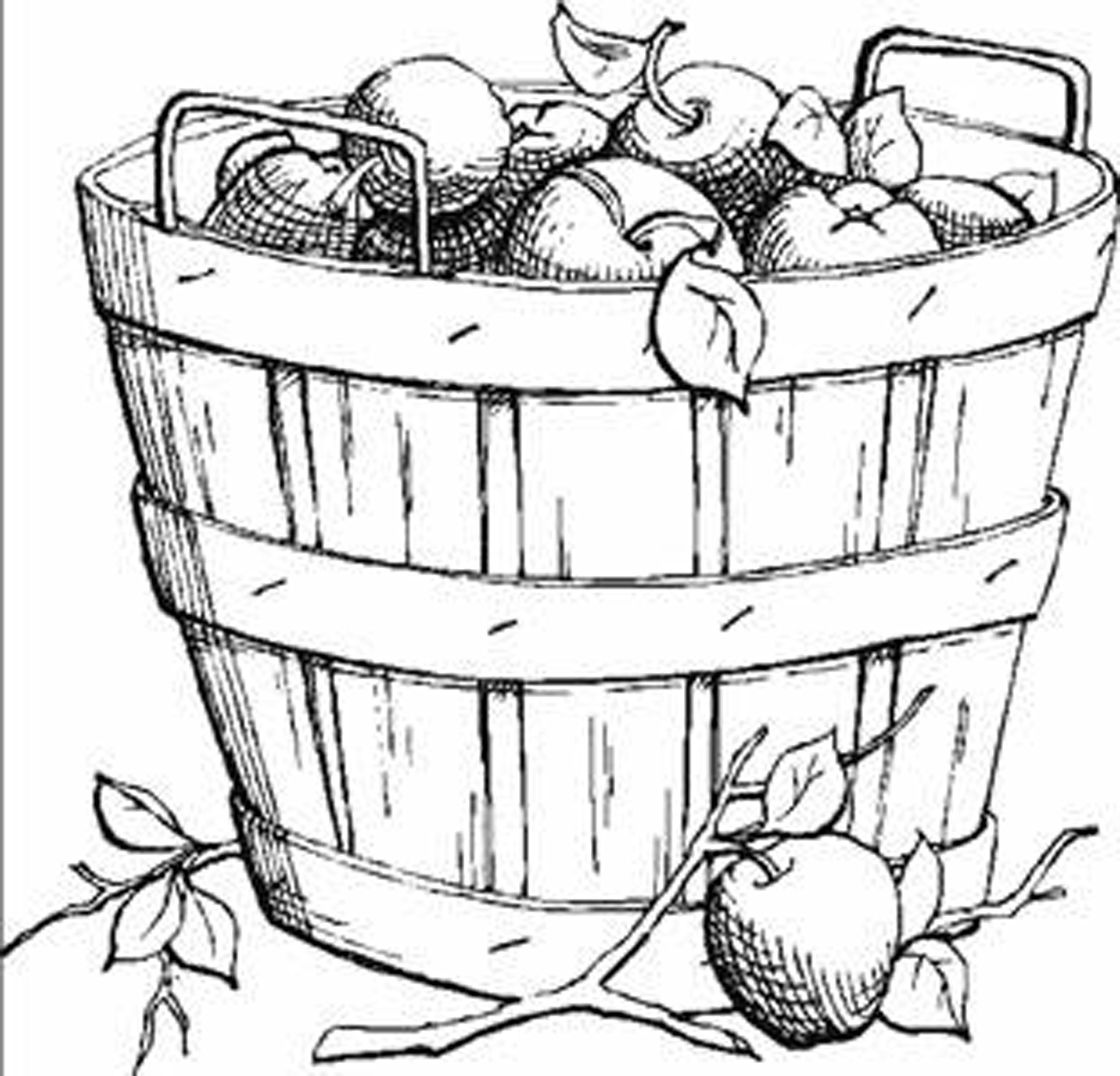 Harvest Fruits Fall Leaves Coloring Pages