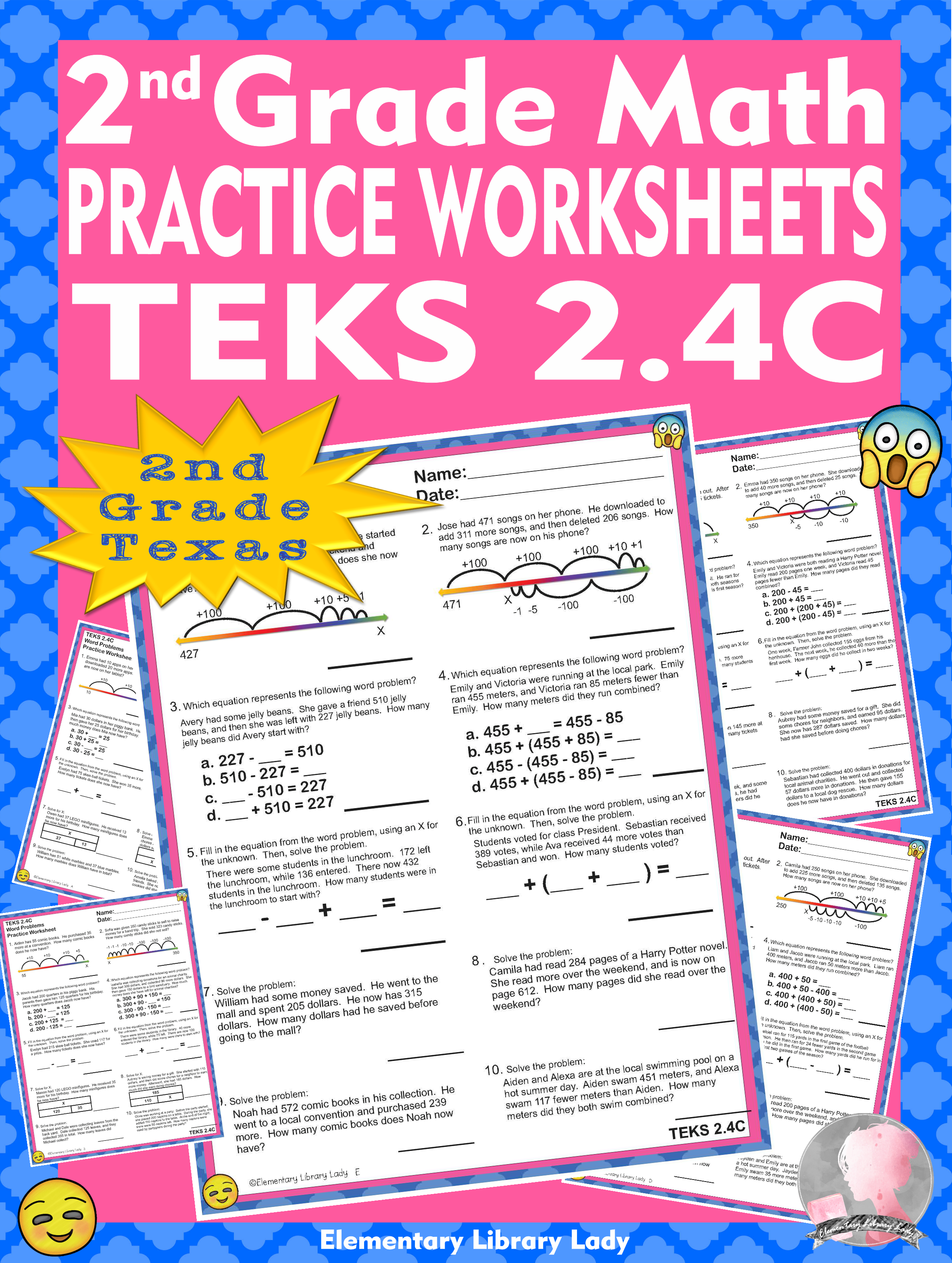 Math Teks 2 4c Texas 2nd Grade Practice Worksheets Word