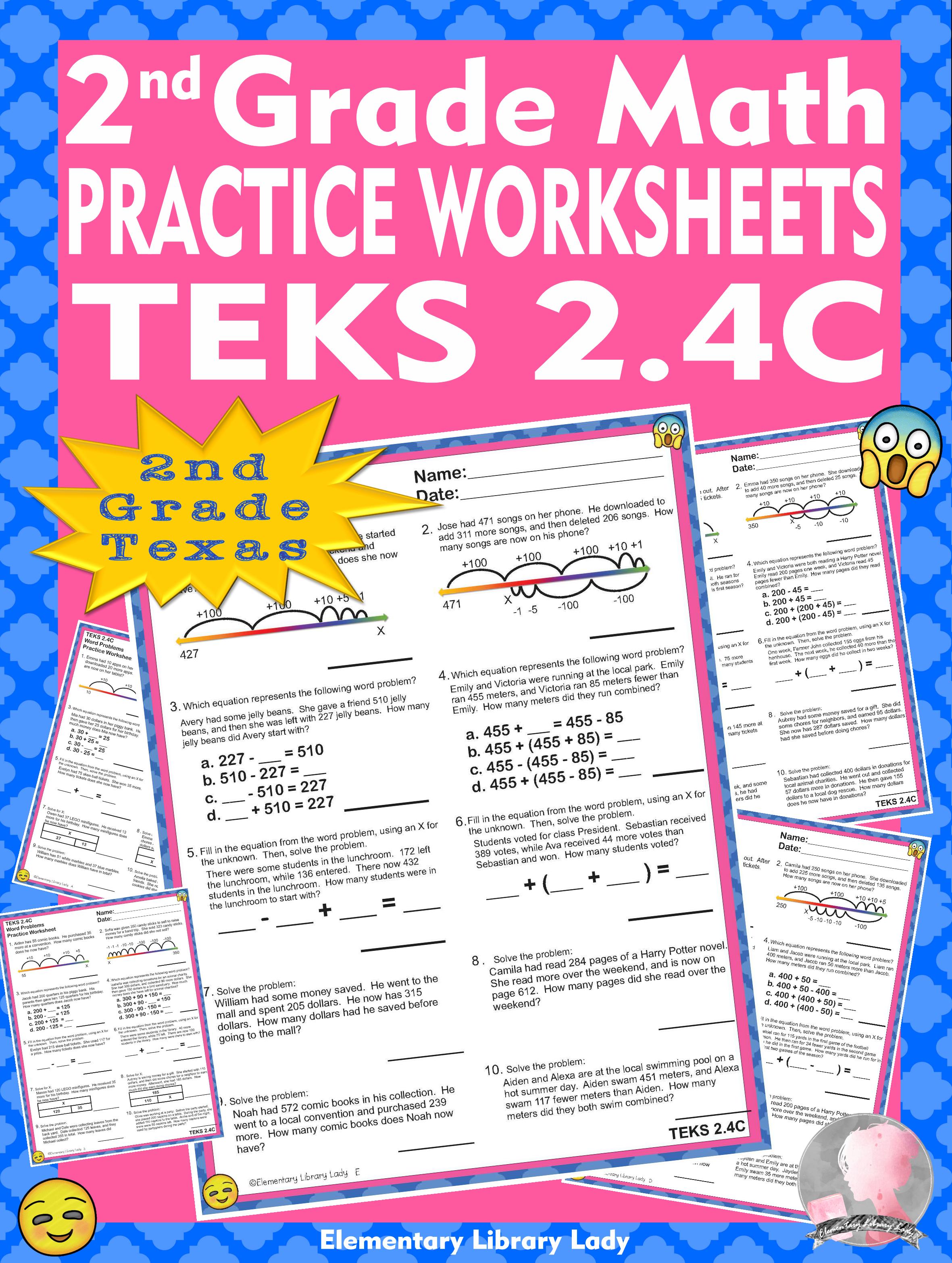Math Teks 2 4c Texas 2nd Grade Practice Worksheets Word