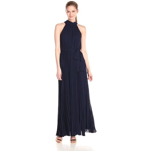 Eliza J Women's Halter Maxi Dress ($169) ❤ liked on Polyvore featuring dresses, eliza j dresses, chiffon dresses, pleated dress, halter maxi dress and pleated maxi dress