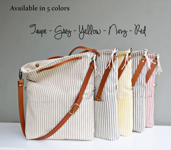 Canvas Cotton Light Blue totes and bags Ticking fabric Navy or Red Stripped