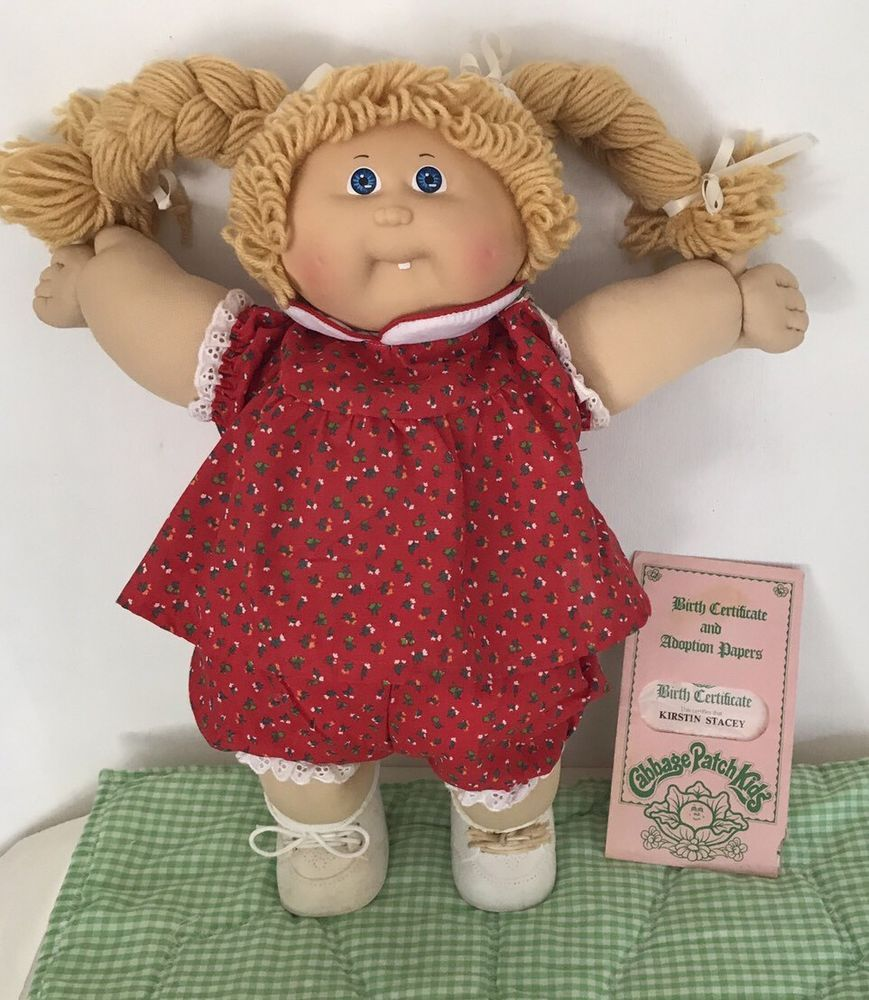 Cabbage patch doll kid girl gold hair blue eyes 1985 birth cabbage patch doll kid girl gold hair blue eyes 1985 birth certificate clothes ebay aiddatafo Images
