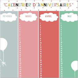 Calendrier Perpetuel Personnalise 365 Jours.Calendrier Anniversaires Print Printable Deco Decoration