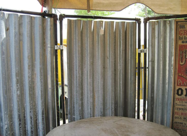 Metal Room Dividers Partitions | ... UPCYCLED STEAM PUNK TIN METAL ROOM  DIVIDER OUTDOOR SHOWER ENCLOSURE