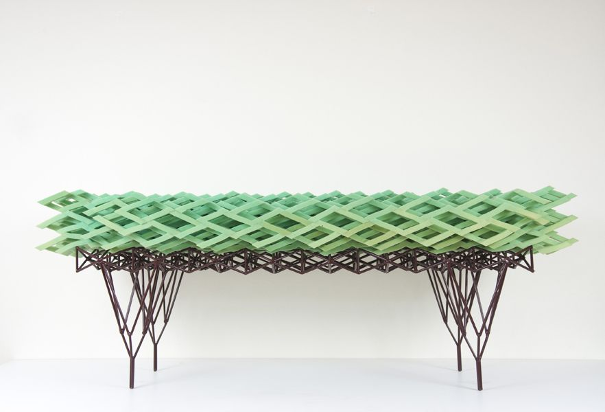 """A small bench for outside use. """"Soft Bush"""" by Lotte Van Wulfften Palthe."""