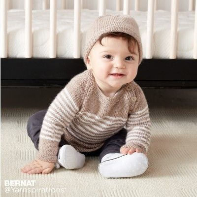 071bdd869ab2 Wee Stripes Knit Pullover and Hat free pattern