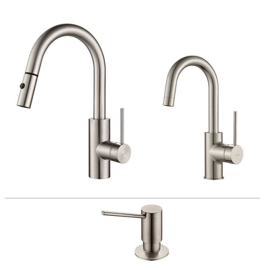 Kraus Kitchen Faucet Set Stainless Steel 1-Handle Pull-Down Sink ...