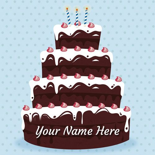 Cake Images With Write Name : Write Your Name on Happy Birthday Chocolate Cake Hamdhan ...