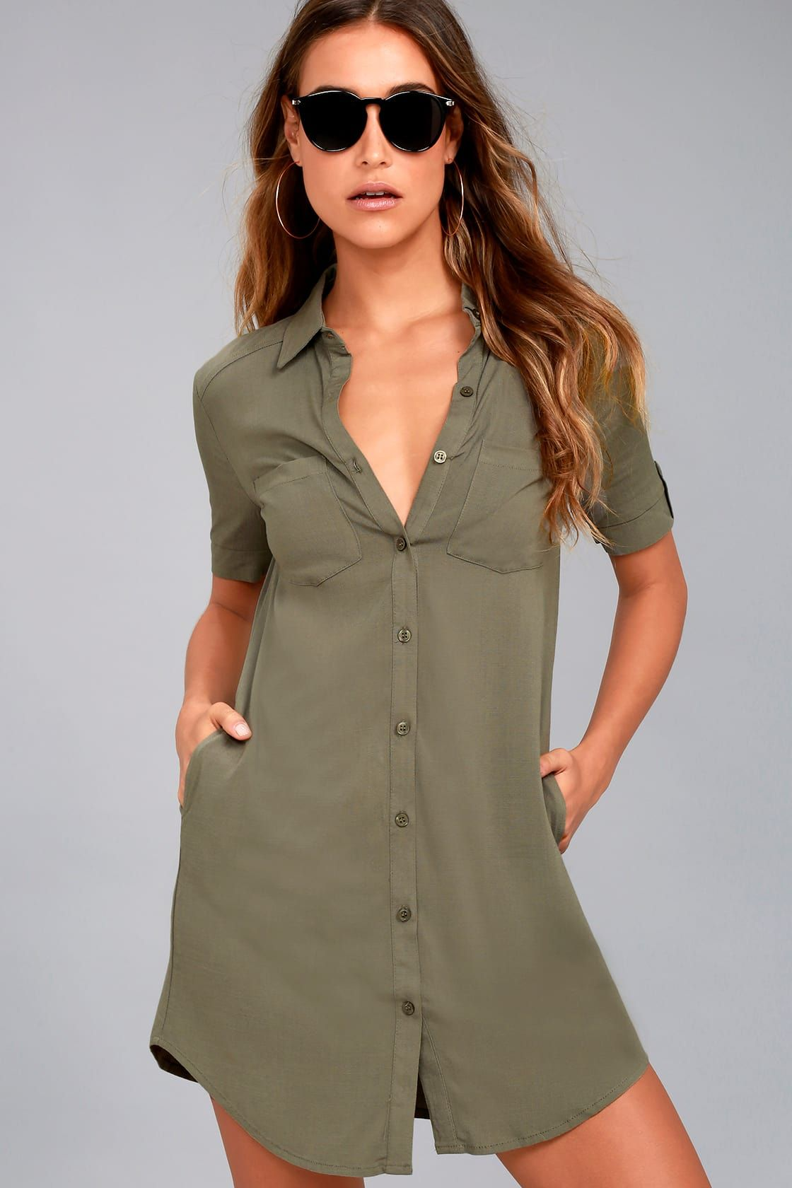 93d62818b Oxford Comma Olive Green Shirt Dress. Cute Olive Green Dress - Button-Up  Shirt Dress - Collared ...