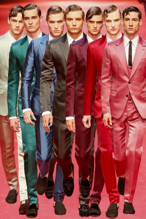 a rainbow of satin suits at Dolce & Gabbana