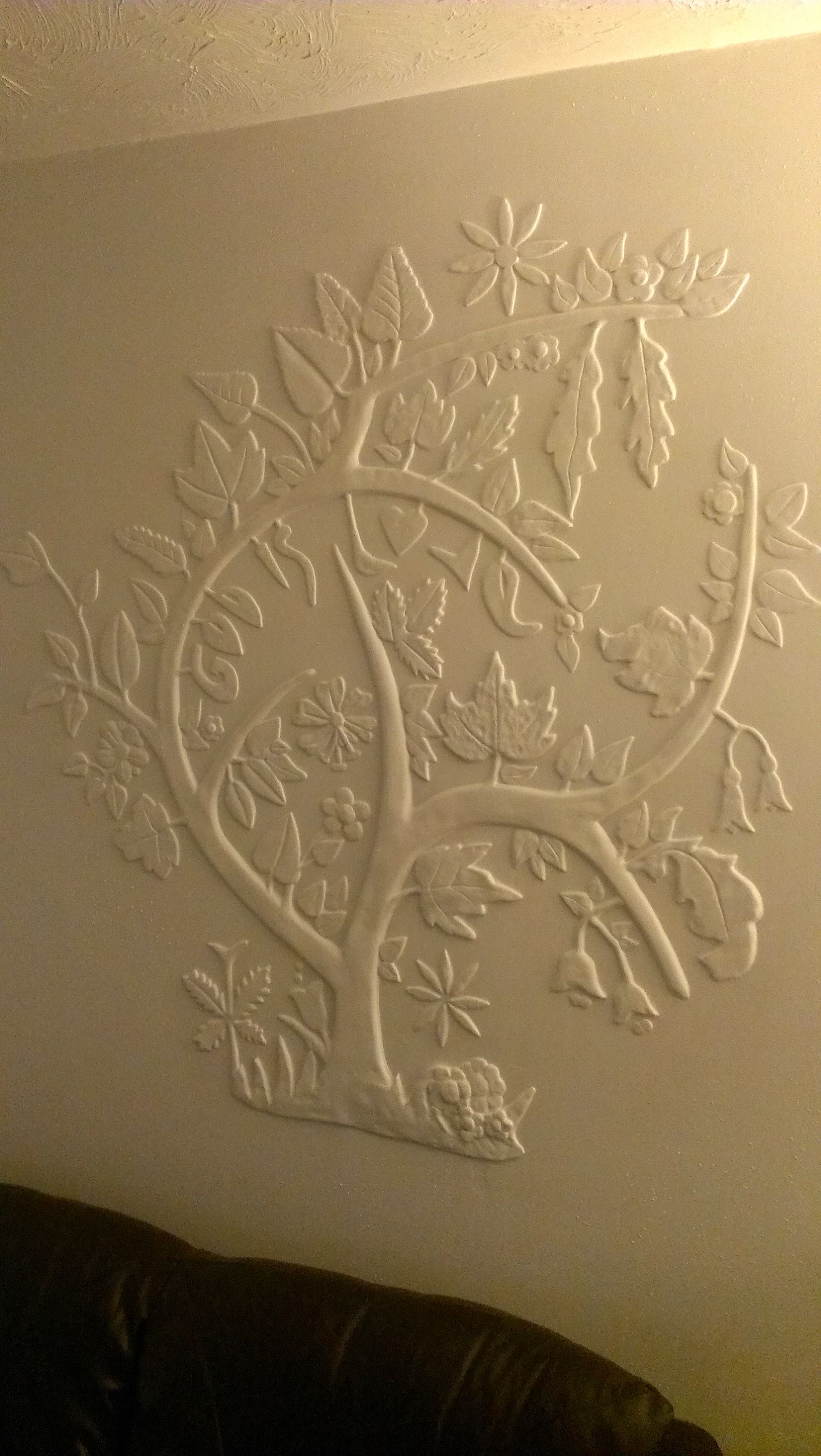 Plaster Wall Design Done With Finishing Plaster By Hand Craft