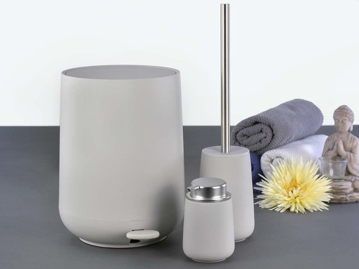 Zone Pedaleimer Toilettenburste Seifenspender Soft Grey 126 63 Seifenspender Toilettenburste Seife