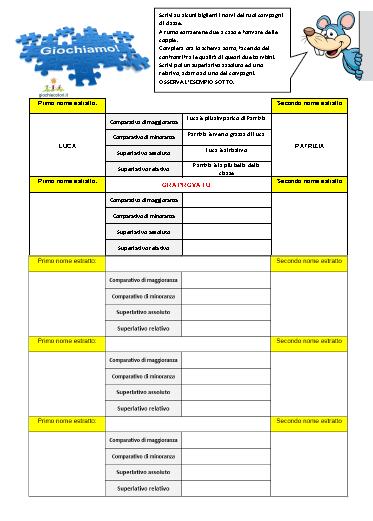 Schede Didattiche Sui Gradi Degli Aggettivi Qualificativi Schede