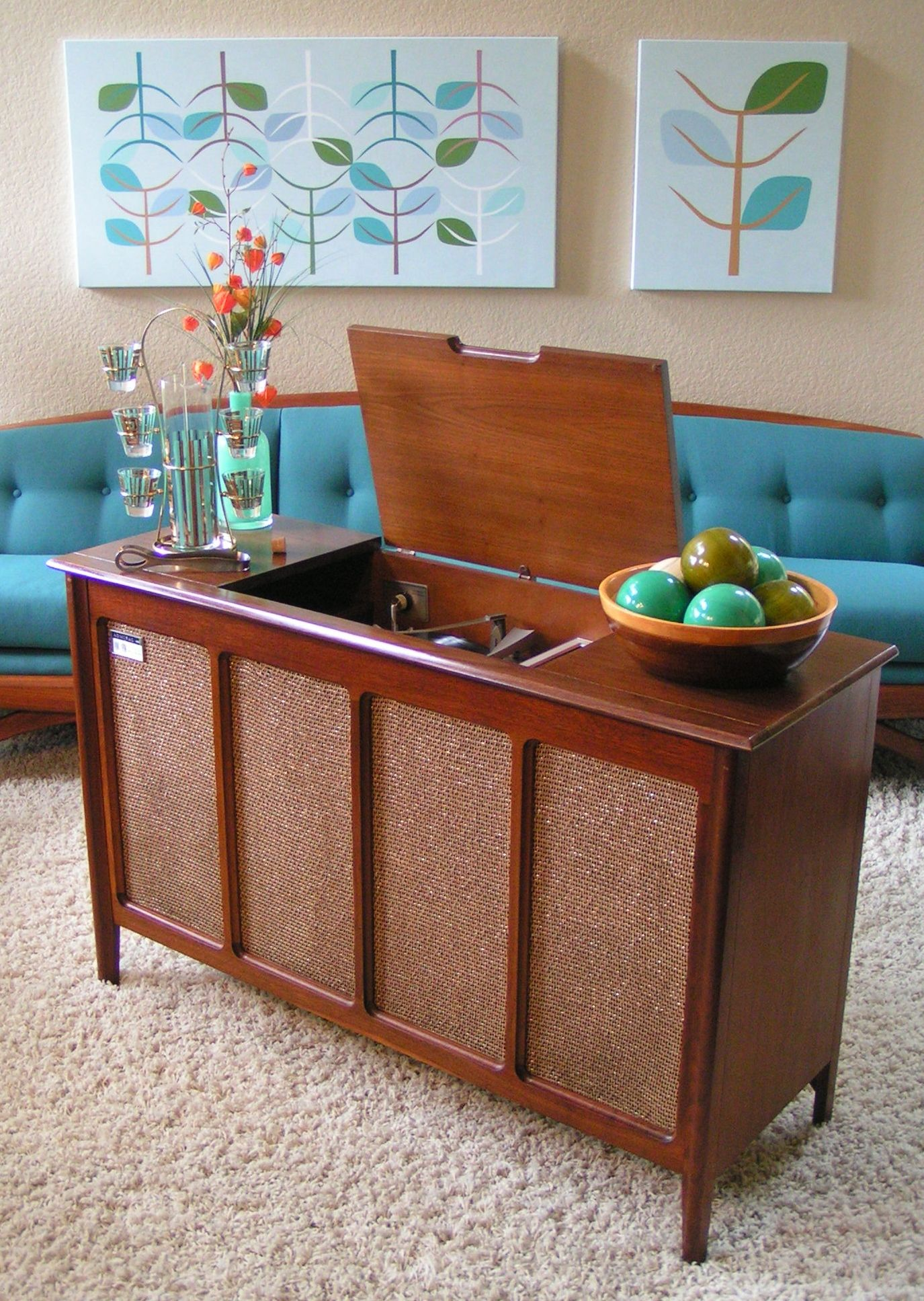 Cabinet Record Player Admiral Am Fm Multiplex Stereo Console 1963 Record Player