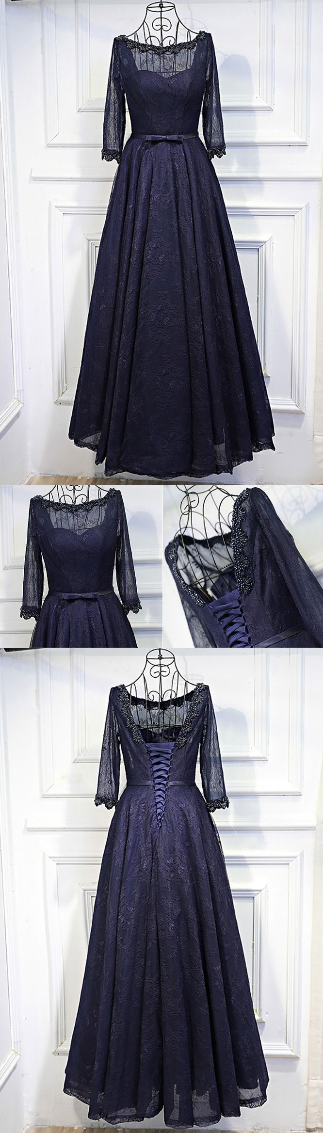 Vintage sleeve navy blue long prom dress lace with corset back