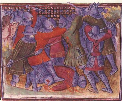 Soldiers fighting at the battle of Poitiers. Late 14th century.