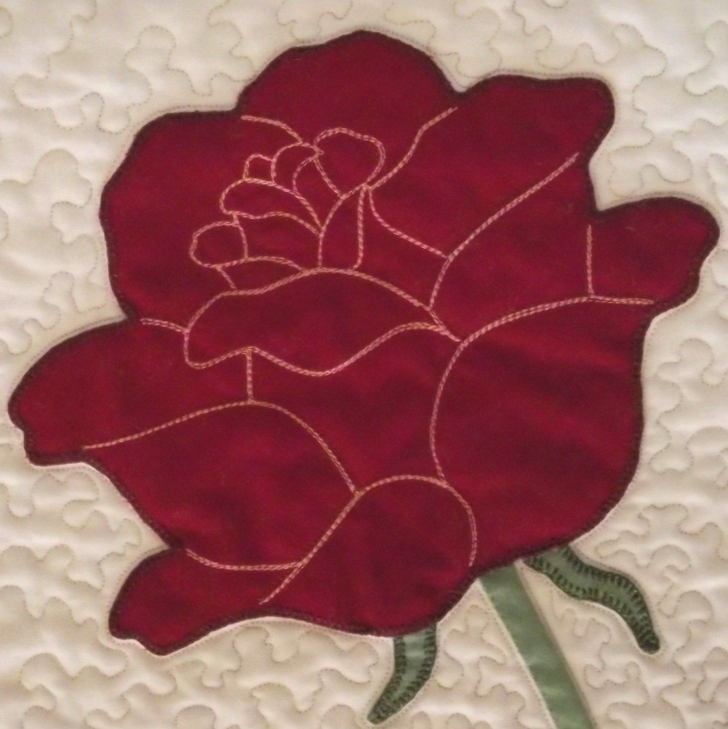 rose applique quilt pattern | The flower is one large piece, with ... : applique quilt patterns flowers - Adamdwight.com