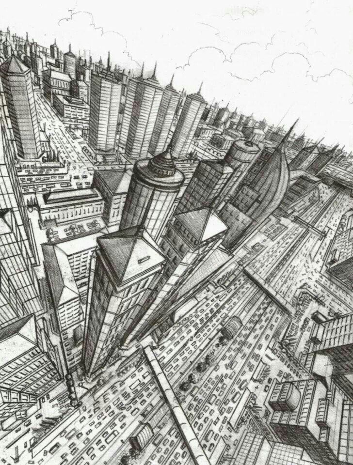 3 point perspective  CITY SKETCHES  3 point perspective