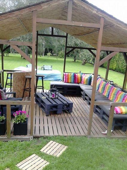 Ideas con palets para exteriores outdoor living spaces - Muebles de terraza con palets ...