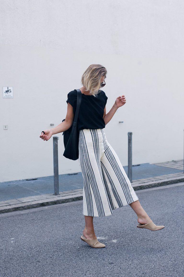 Outfit: Streifen-Culotte | styleee | Culottes outfit ...