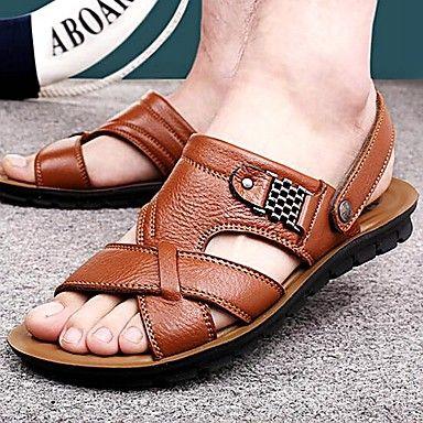 43b4cbd2e33 Zapatos de Hombre-Sandalias-Exterior   Casual-Cuero-Negro   Marrón    Naranja - EUR € 21.85 Más
