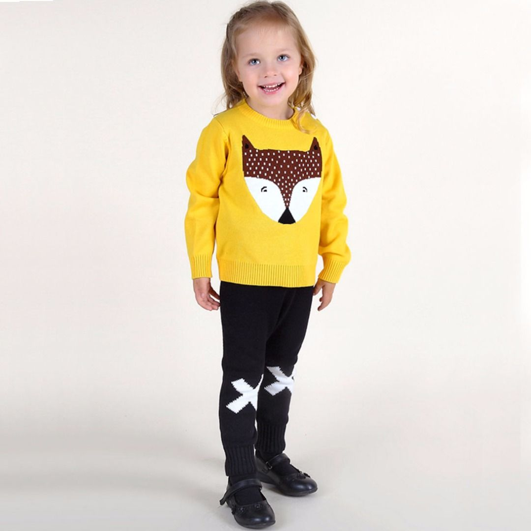 * Shoulder adjustable buttons<br /> * Cute front fox motif<br /> * Ribbed hand cuffs and hem<br /> * Material: 100% Cotton<br /> <br /> Stay warm and be the cutest kiddo in this mystic fox sweater that is made of 100% cotton material to keep baby warm and cozy.