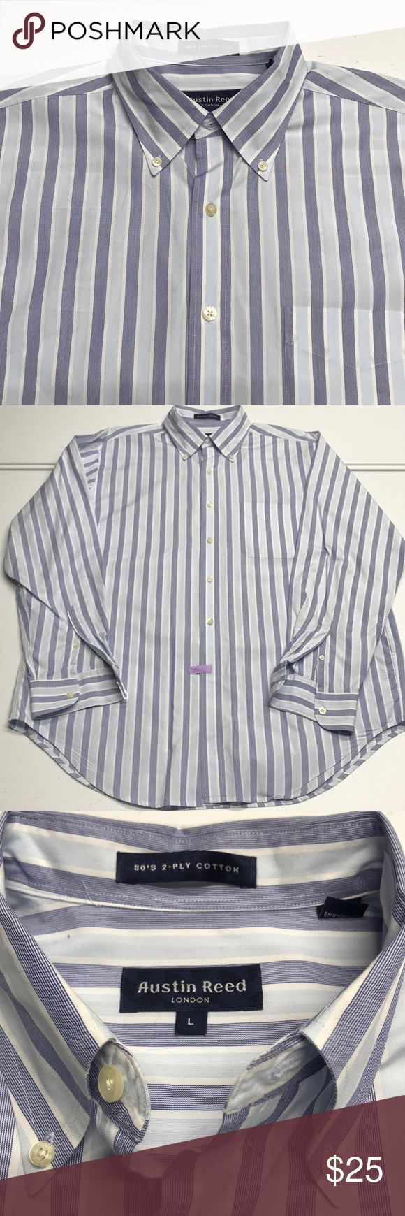 Austin Reed London Mens Blue Striped Dress Shirt In 2020 Blue Striped Dress Shirt Mens Shirt Dress Blue Man