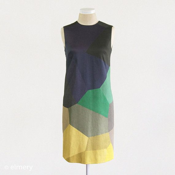 cotton shift dress . faceted green yellow ++ elmery
