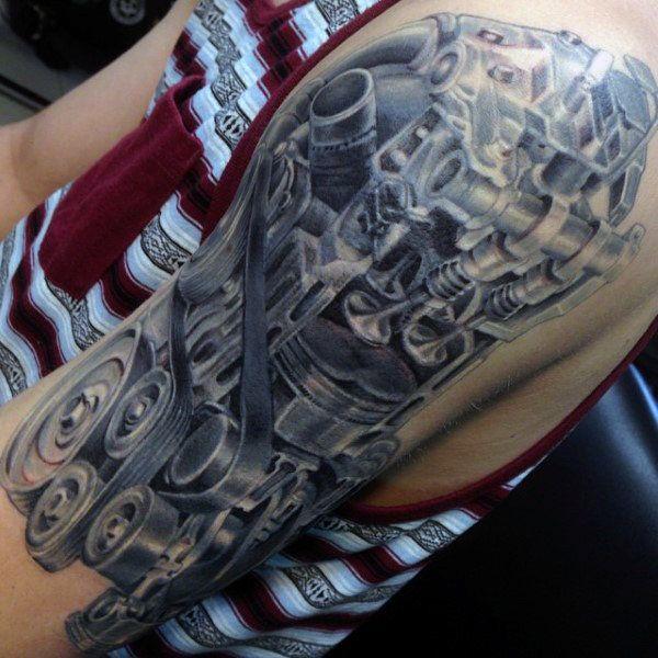 50 Mechanic Tattoos For Men - Masculine Robotic Overhauls ...