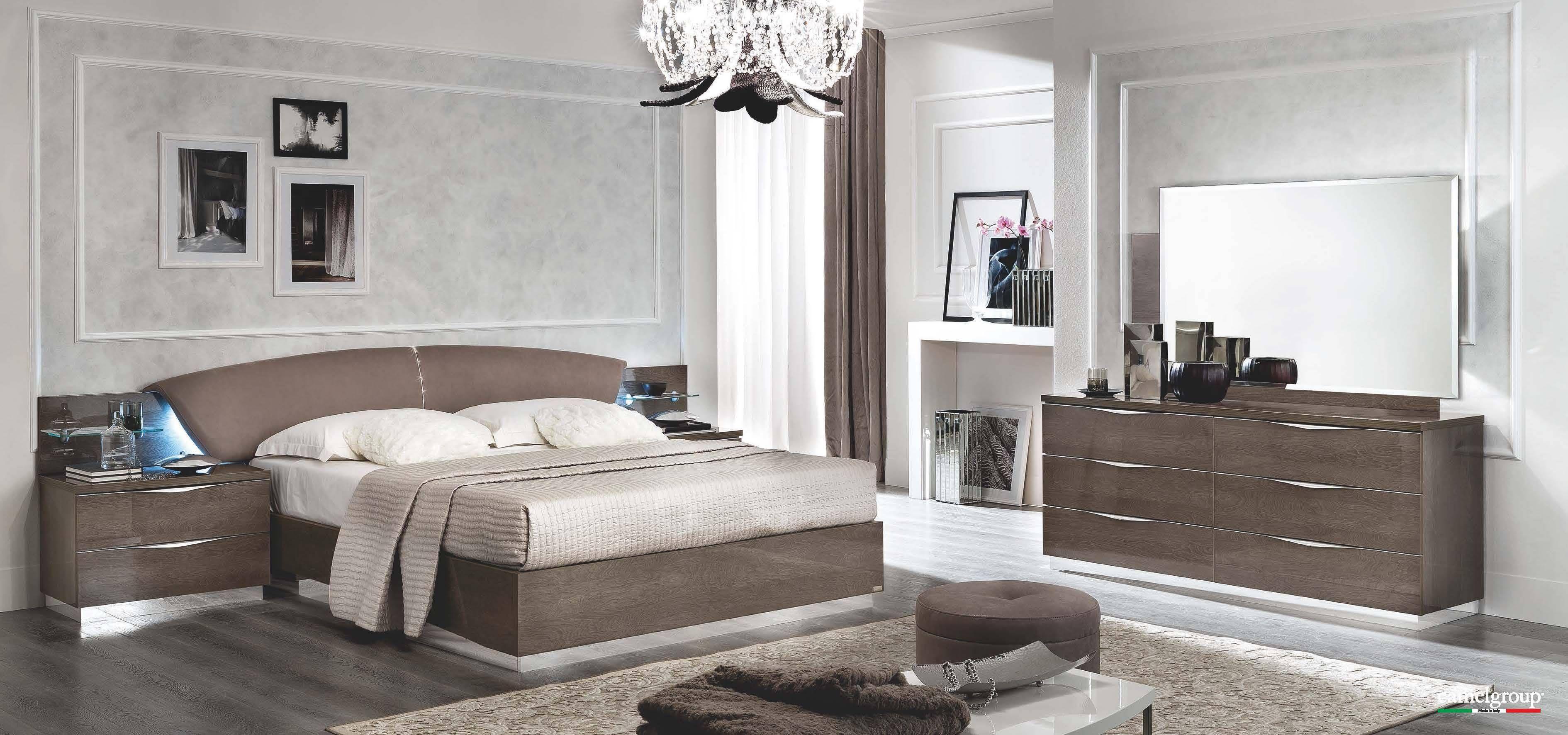 Stylish Italian Silver Birch Walnut Colored Bedroom Set This Is A Modern