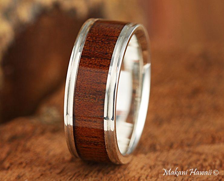 925 Sterling Silver Koa Wood Inlaid Mens Wedding Ring 8mm