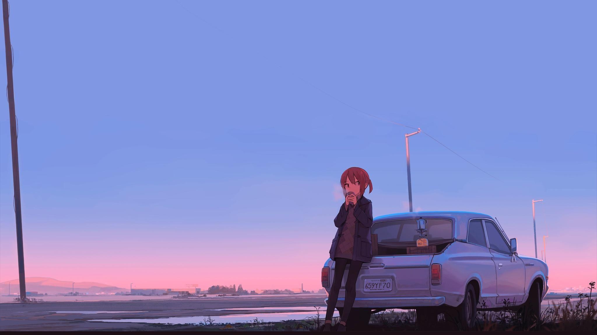 anime sunset and car ((1920x1080) Anime scenery