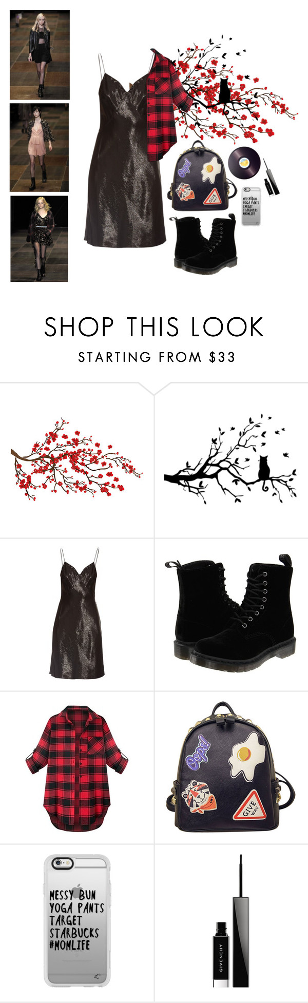"""viva la grunge"" by exclusivelyenchanting ❤ liked on Polyvore featuring Yves Saint Laurent, Dr. Martens, WithChic, Casetify, Givenchy and Joseph Joseph"